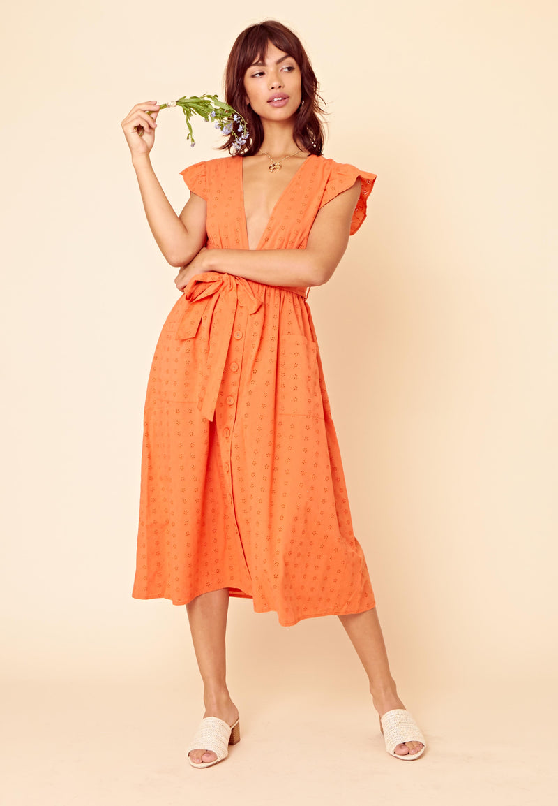 Broderie Midaxi Dress <br> Orange