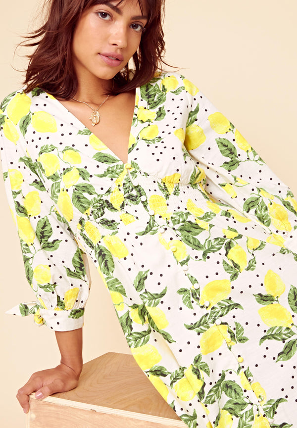 Lemon Print Shirred Midi Dress <br> White