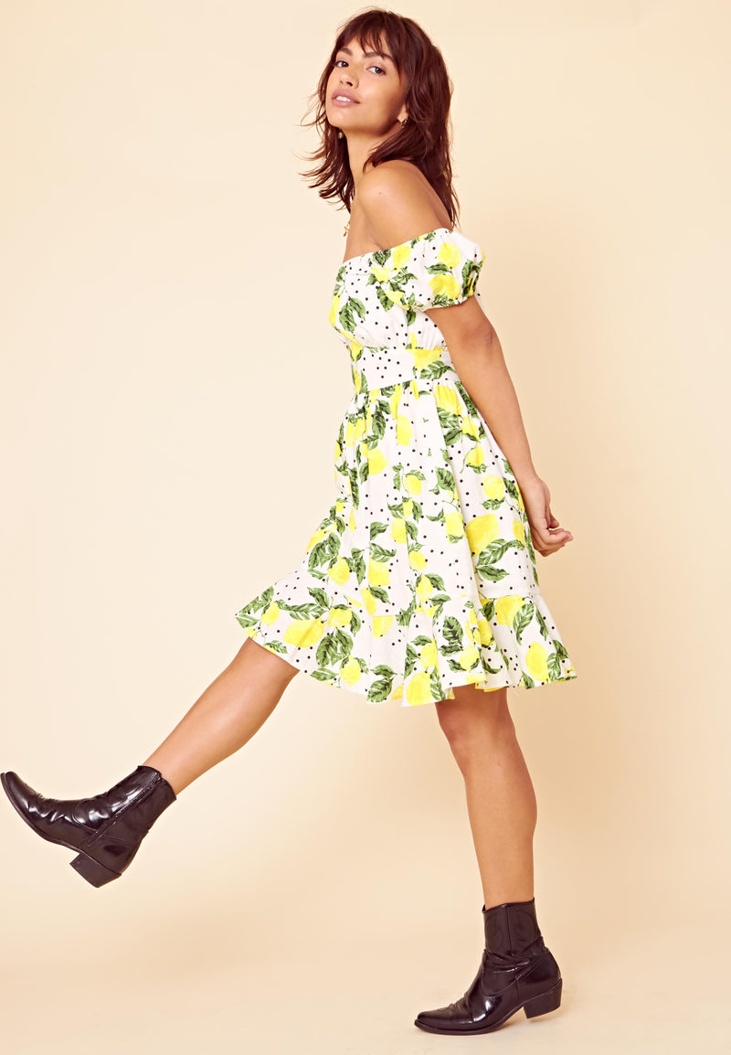 Lemon Print Bardot Mini Dress <br> White