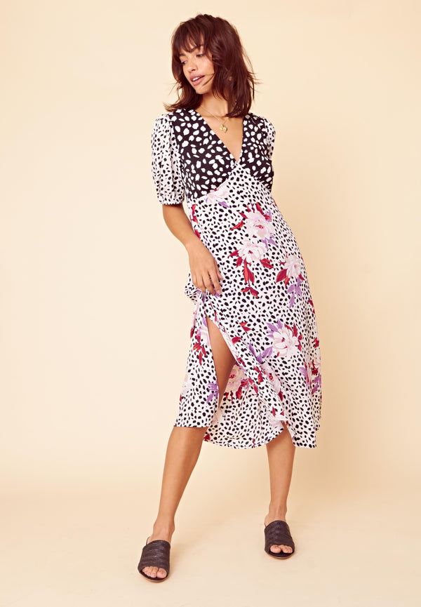 Eliza Contrast Floral V Neck Midi Dress <br> Multi