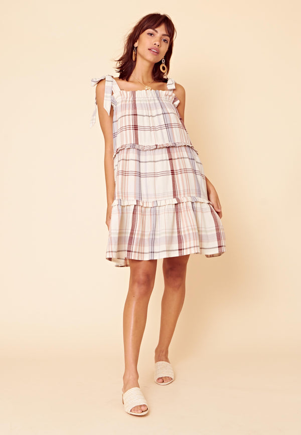 Tie Shoulder Check Tiered Smock Dress <br> Beige