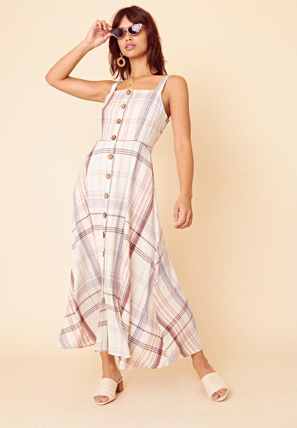 Button Front Check Midaxi Dress <br> Beige