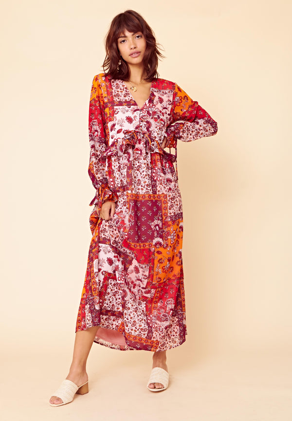 Patchwork Smock Maxi Dress <br> Multi