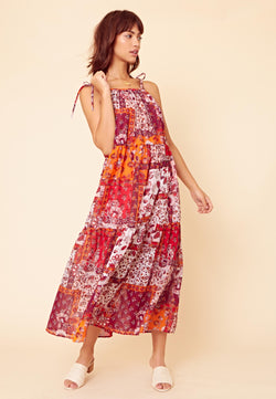 Patchwork Tiered Midaxi Dress <br> Multi