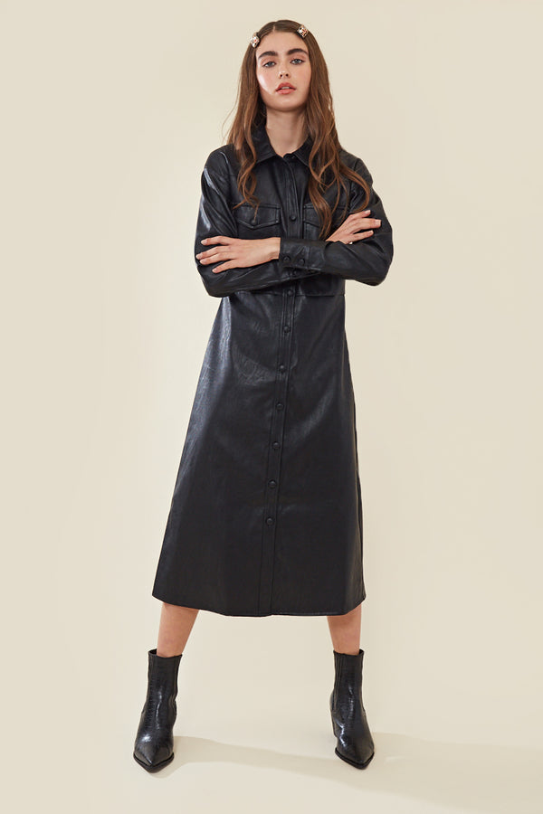 Faux Leather Midi Shirt Dress </br> Black