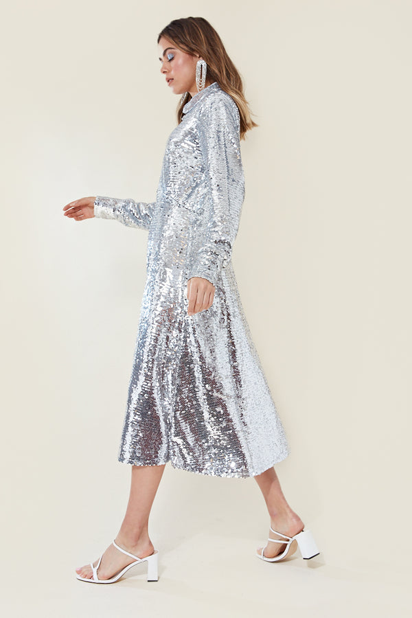 Sequin Shirt Midi Dress </br> Grey