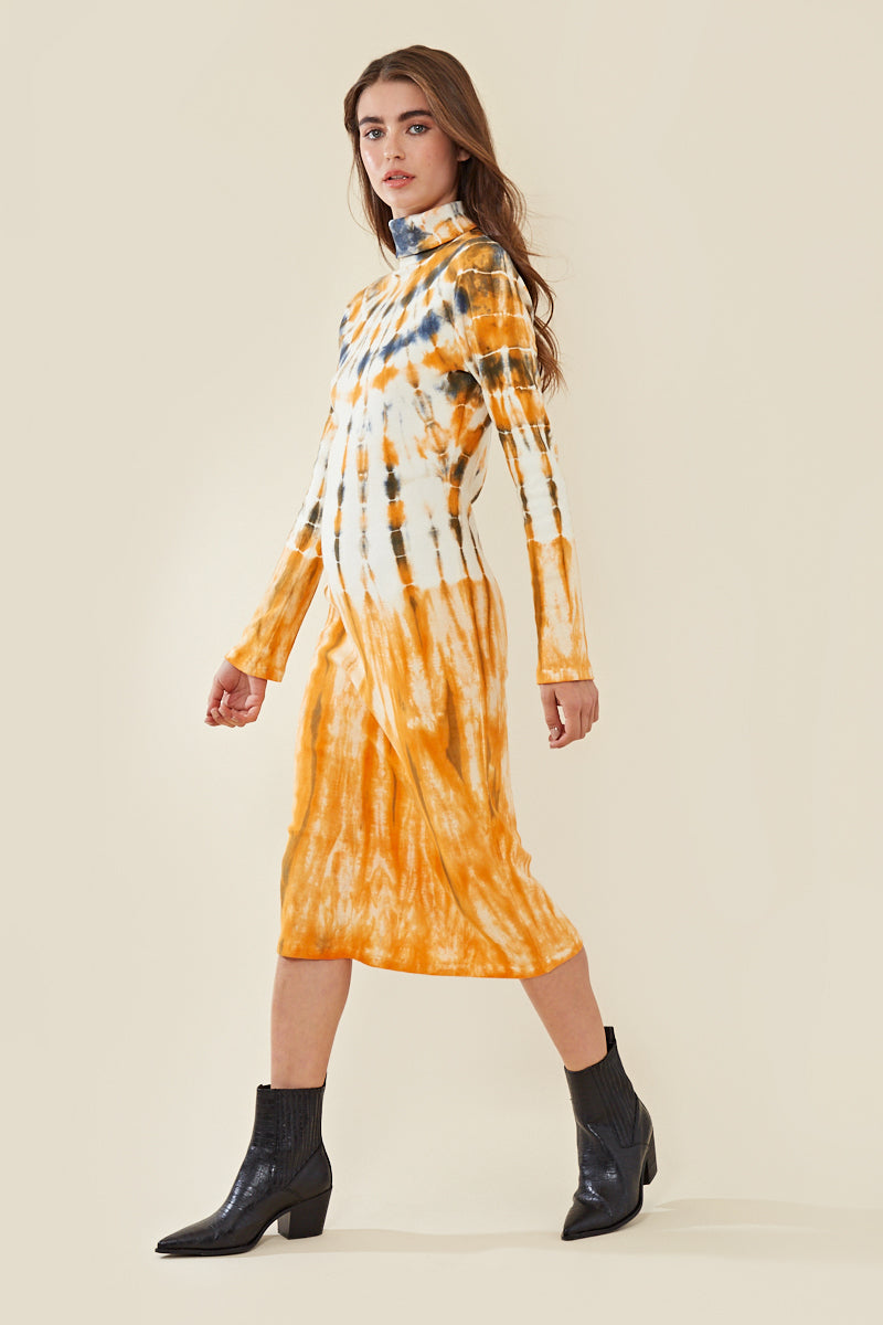 High Neck Tie Dye Midi Dress </br> Multi
