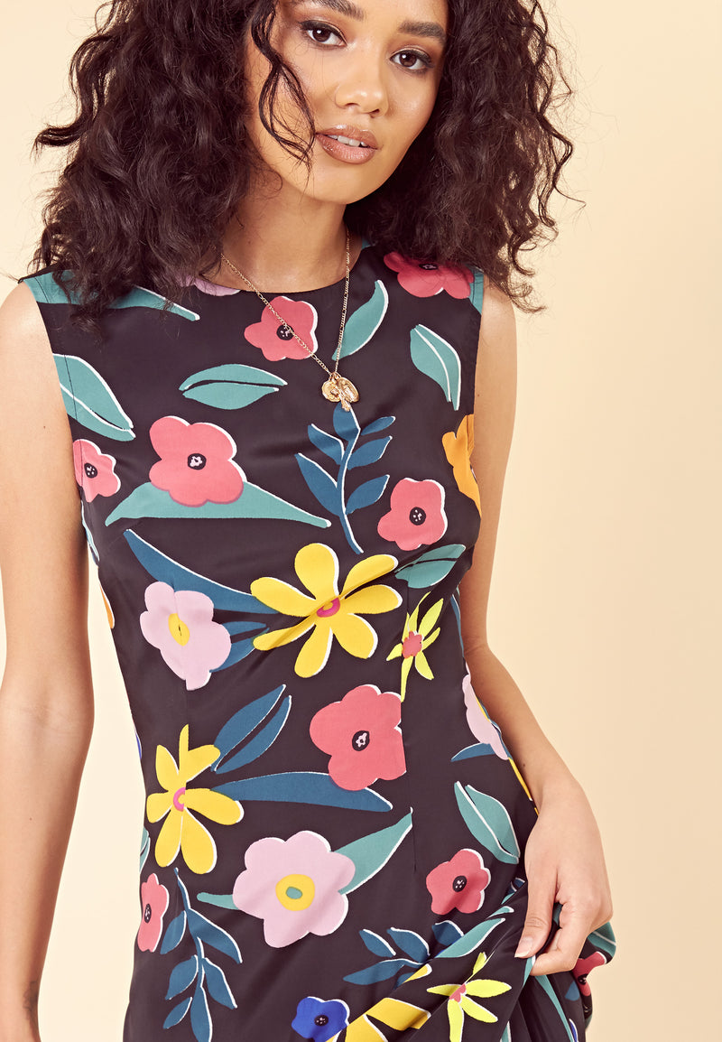Retro Floral Maxi Shift Dress <br> Multi