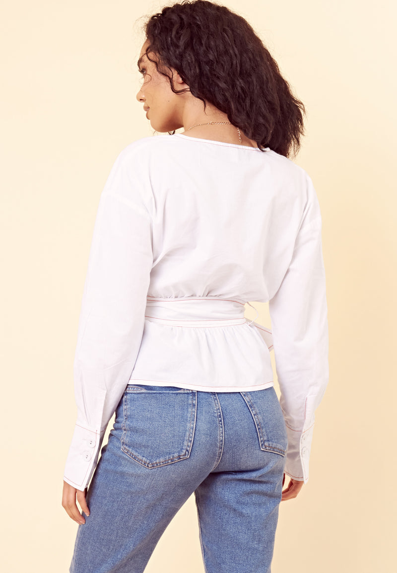 Wrap Belted Contrast Stitch Blouse <br> White