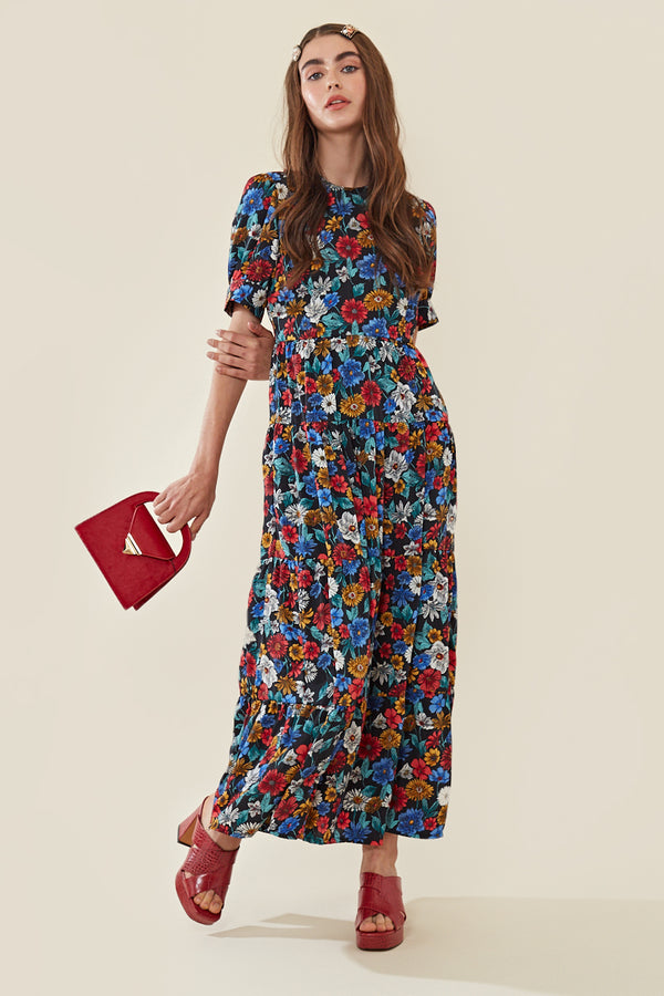 Floral Maxi Balloon Sleeve Tea Dress </br> Multi