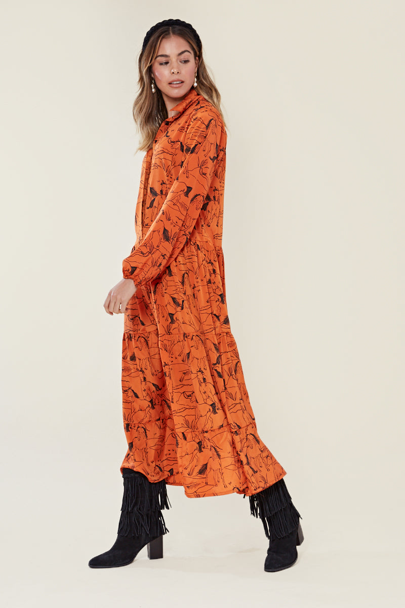 Horse Sketch Tiered Maxi Tea Dress <br/> Orange