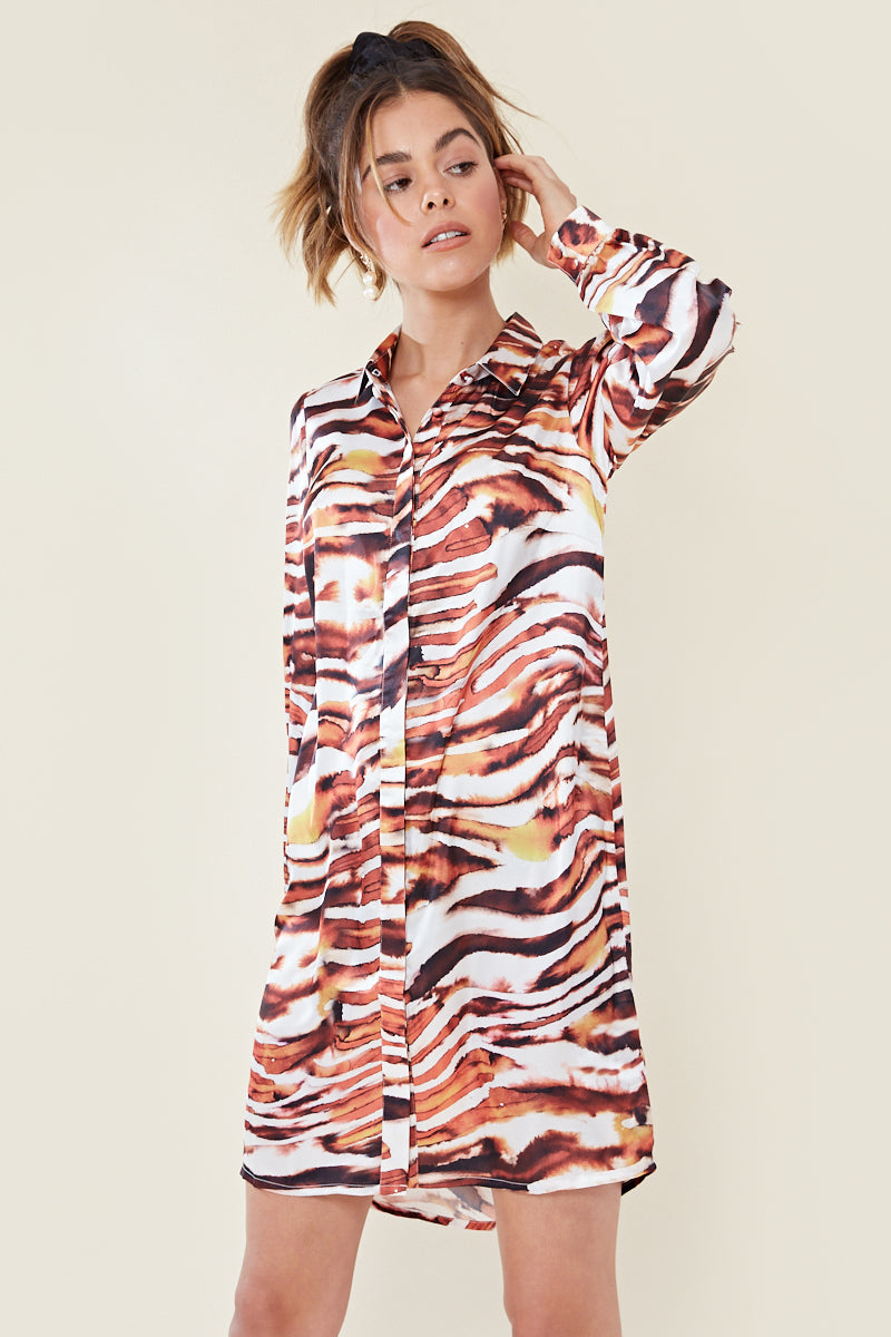Tiger Print Shirt Dress </br> Multi