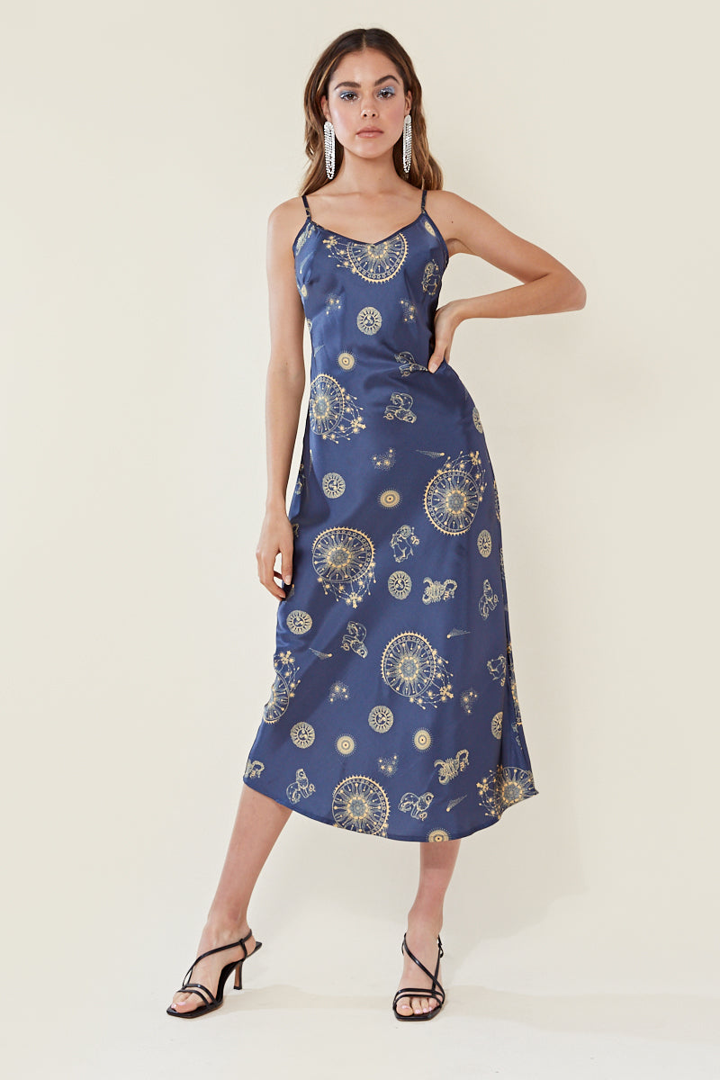 Celestial Maxi Slip Dress </br> Blue