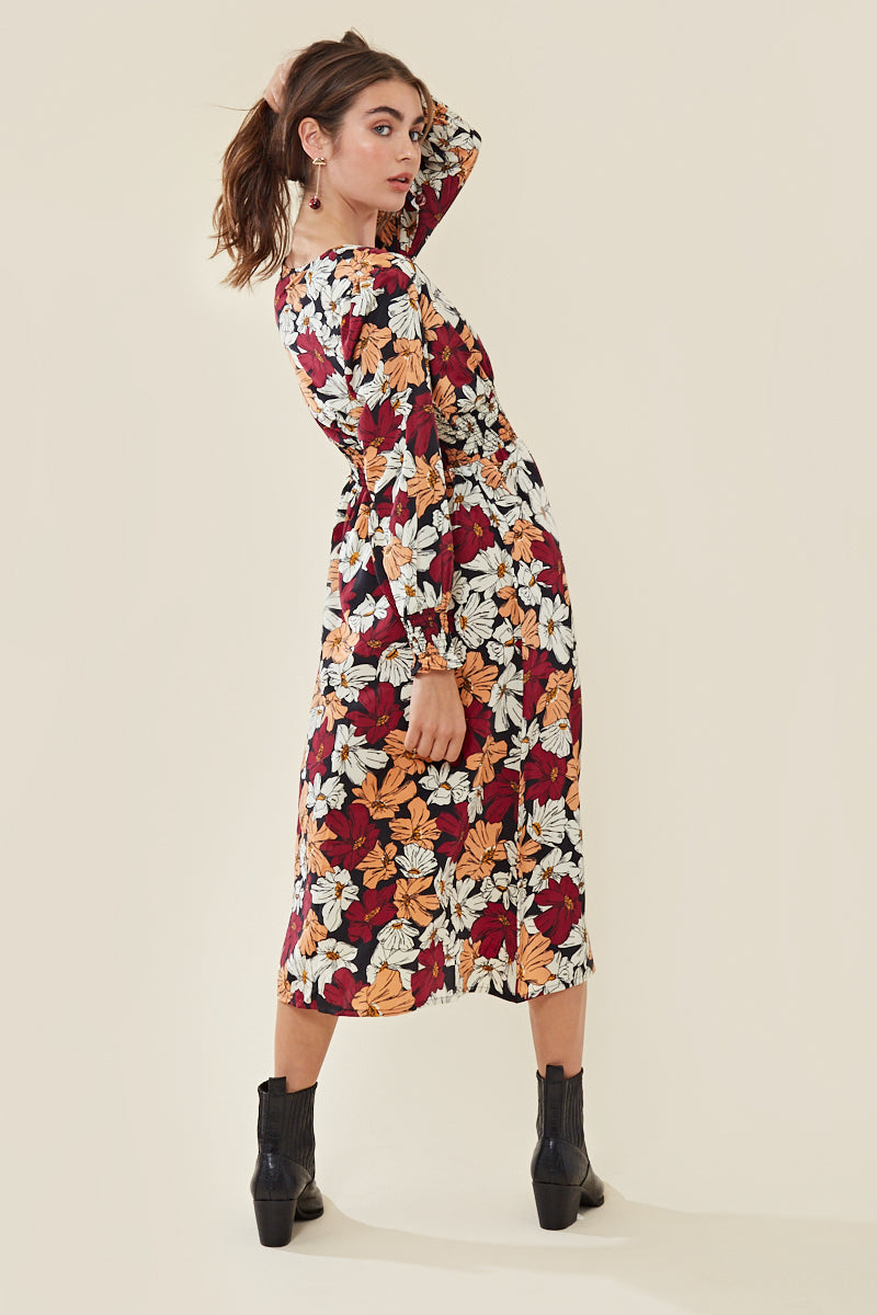 Floral Shirred Waist Plunge Midi Dress </br> Multi
