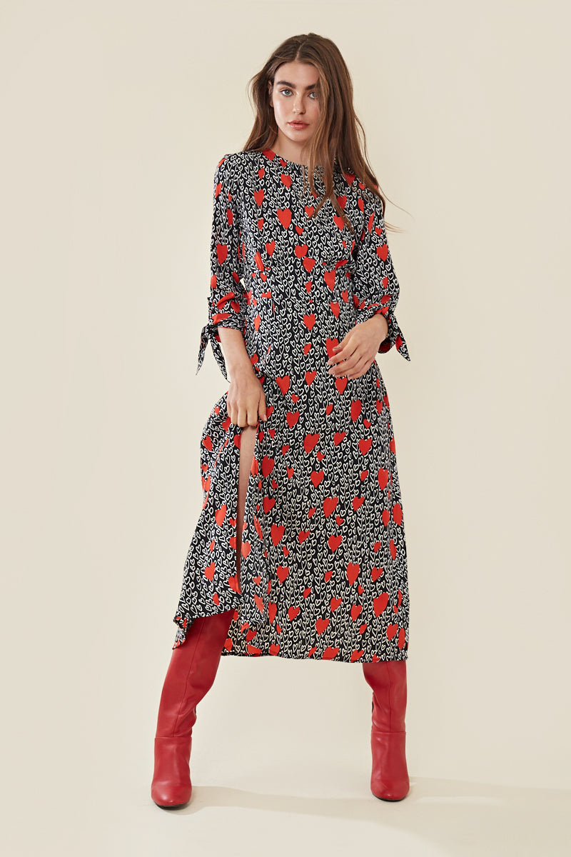Heart Print Midi Dress with Thigh Split </br> Multi