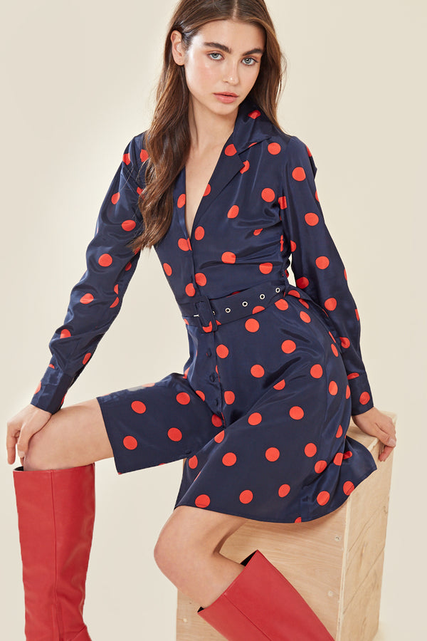 Spot Buckle Belt Mini Tea Dress </br> Multi