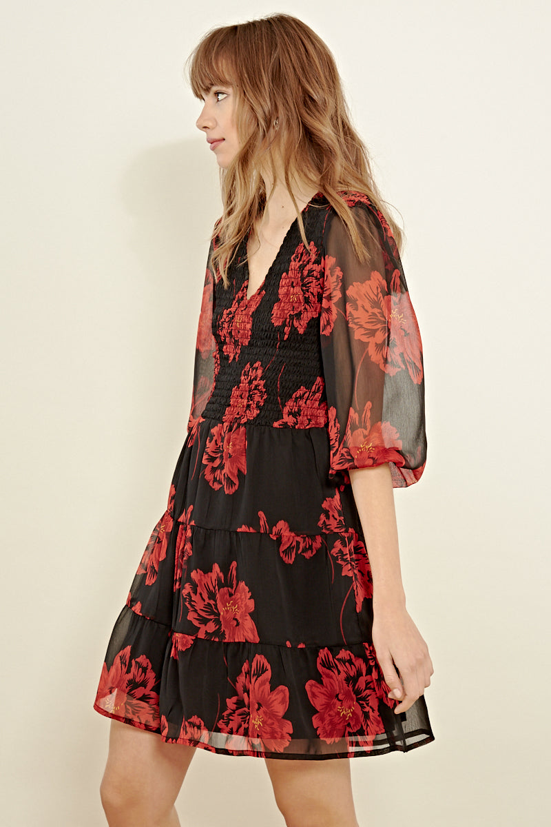 Bold Floral Shirred Tiered Mini Dress <br/> Black