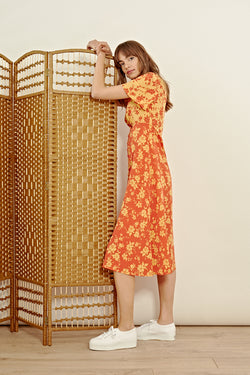 Floral Print Button Front Midi Dress <br/> Orange