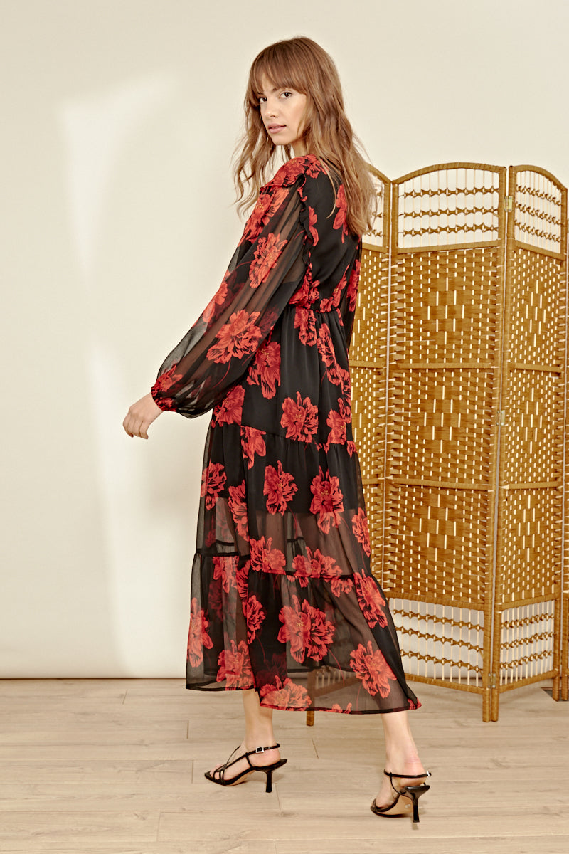 Bold Floral Tiered Maxi Tea Dress <br/> Black