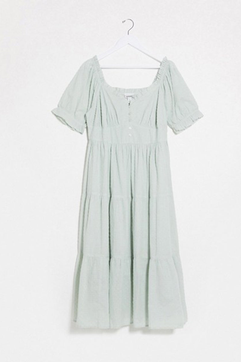 Textured Dobby Tiered Midi Dress in Sage <br/> Curve