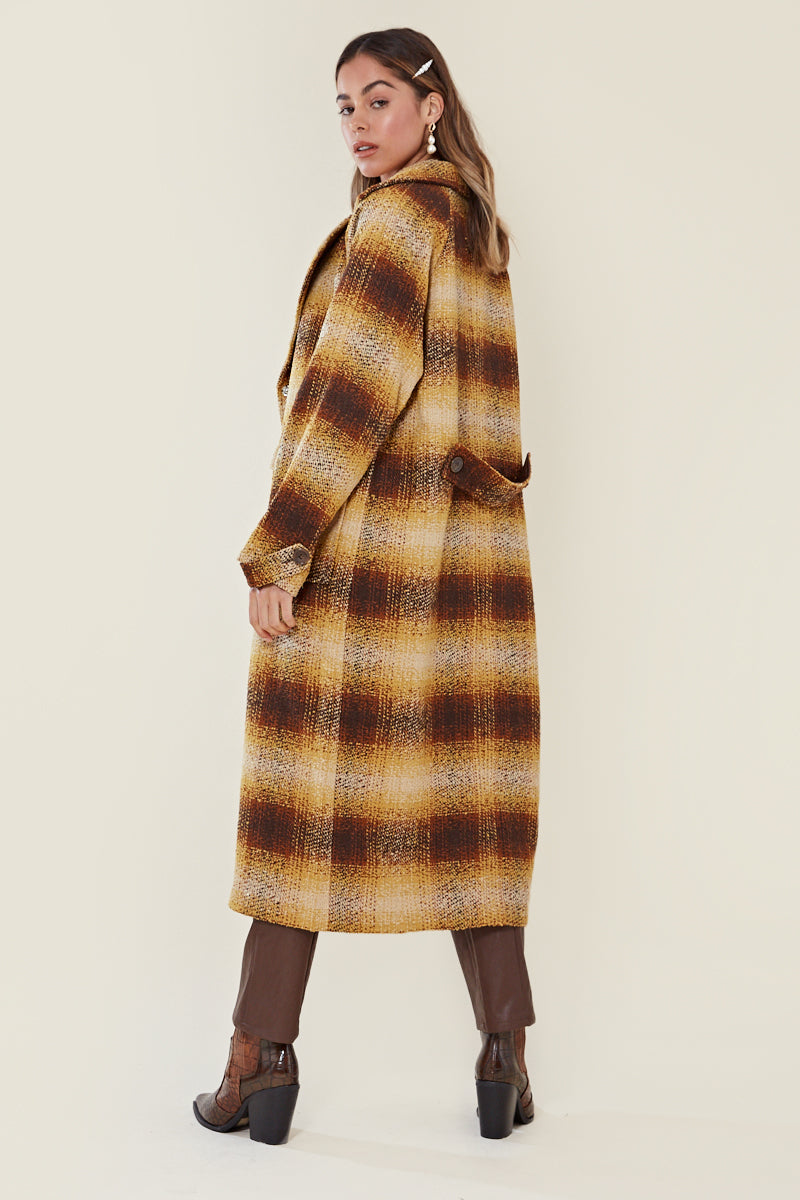 Check Oversized Midaxi Coat <br/> Multi