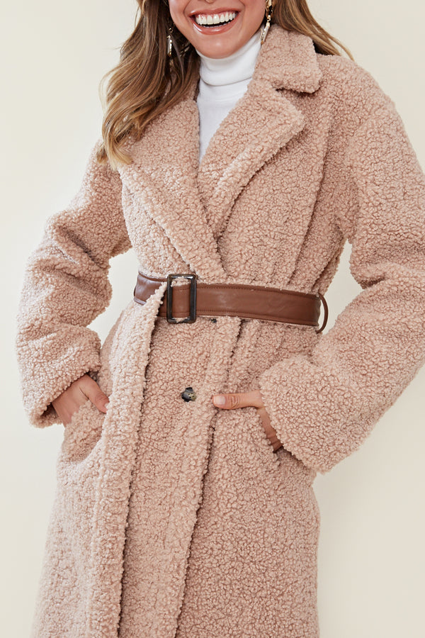 Teddy Faux Leather Belt Maxi Coat <br/> Beige
