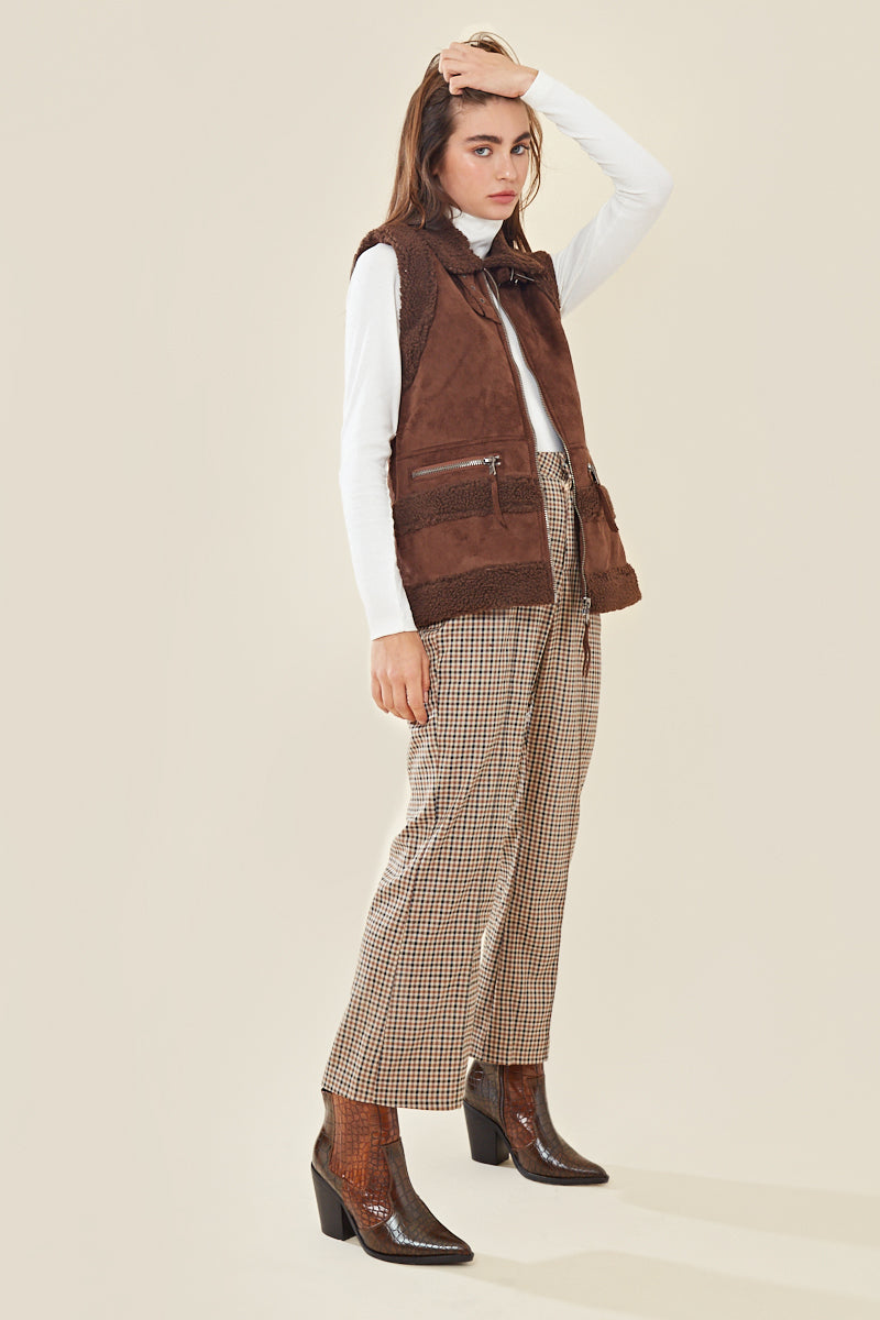 Faux Teddy & Suede Oversized Aviator Gilet </br> Brown