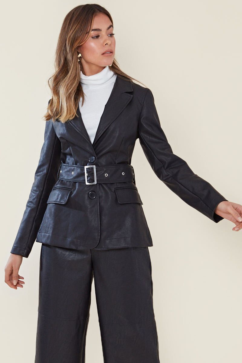 Faux Leather Belted Blazer <br/> Black