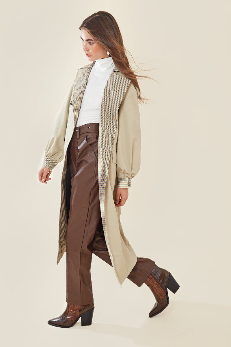 Contrast Check Oversized Trench Coat </br> Multi