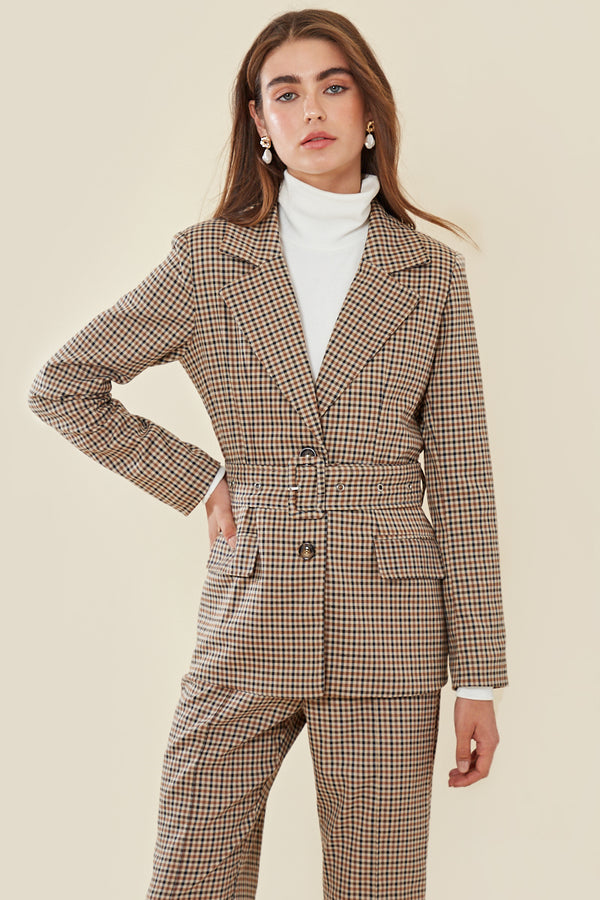Check Belted Blazer </br> Multi