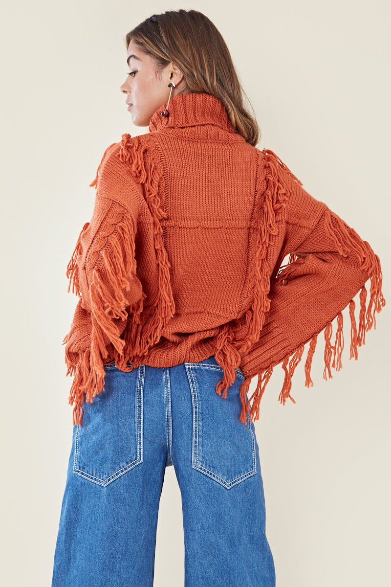 High Neck Tassel Jumper <br/> Orange