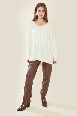Relaxed Textured Knit Jumper </br> Cream