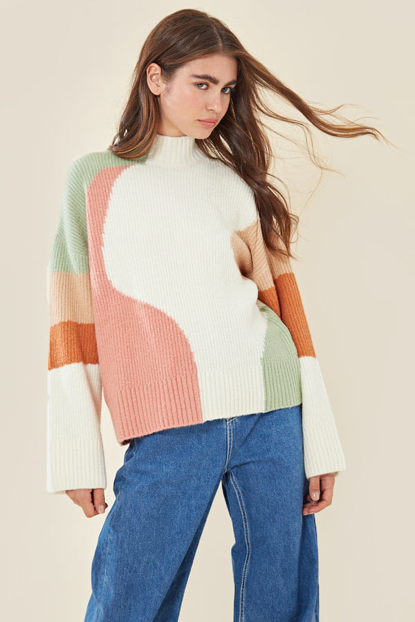 Tonal Oversized Colour Block Jumper </br> Multi
