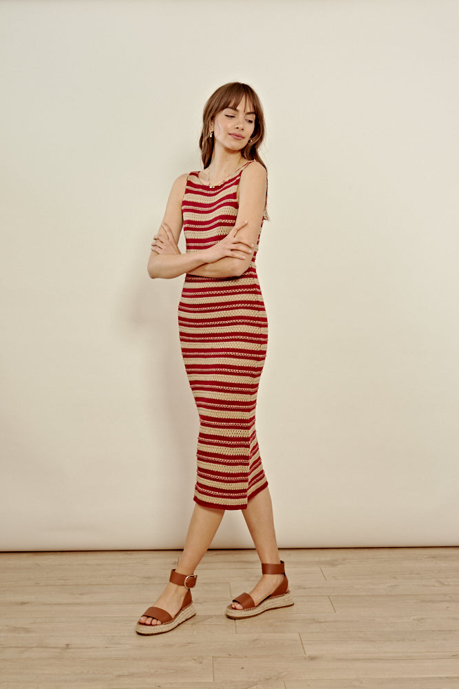 Retro Stripe Knit Cami Midi Dress <br/> Multi