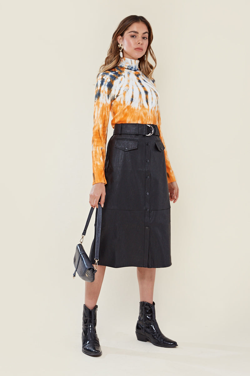 Faux Leather Belted Pencil Skirt <br/> Black