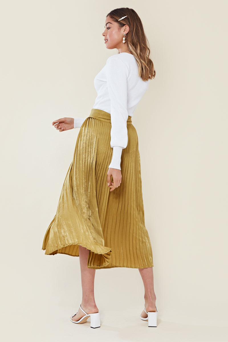 Satin Belted Pleat Midi Skirt <br/> Green