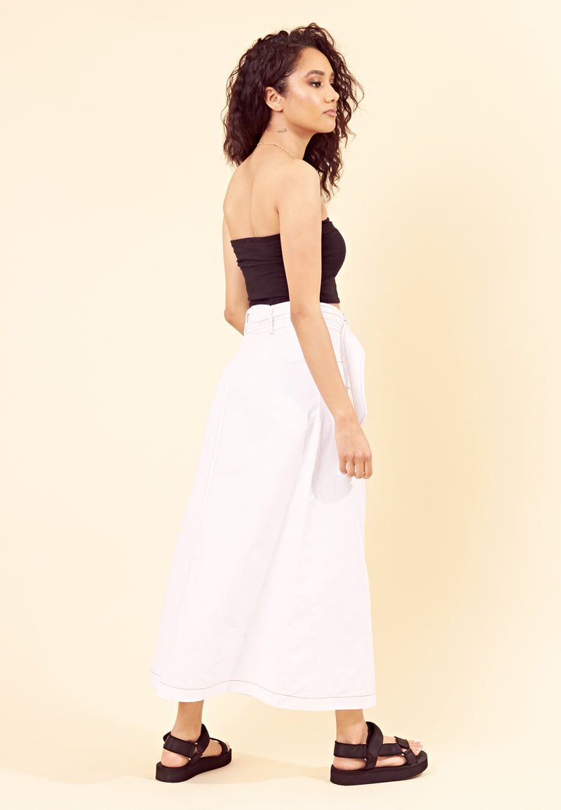 Contrast Stitch Utility Belted Maxi Skirt <br> White