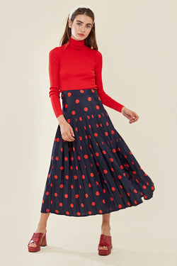 Spot Pleated Split Midi Skirt </br> Multi