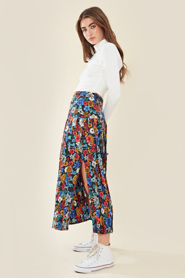 Floral Split Pleated Midi Skirt </br> Multi