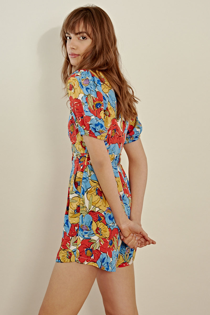 Floral Puff Sleeve Belted Playsuit<br/> Multi