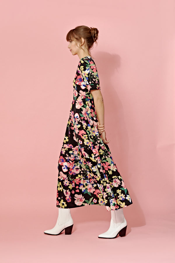 Floral Maxi Balloon Sleeve Tea Dress <br/> Black