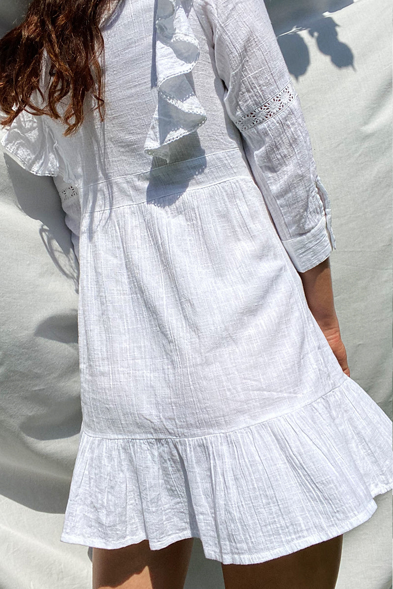 Prairie Ruffle Frilled Mini Dress <br/> White