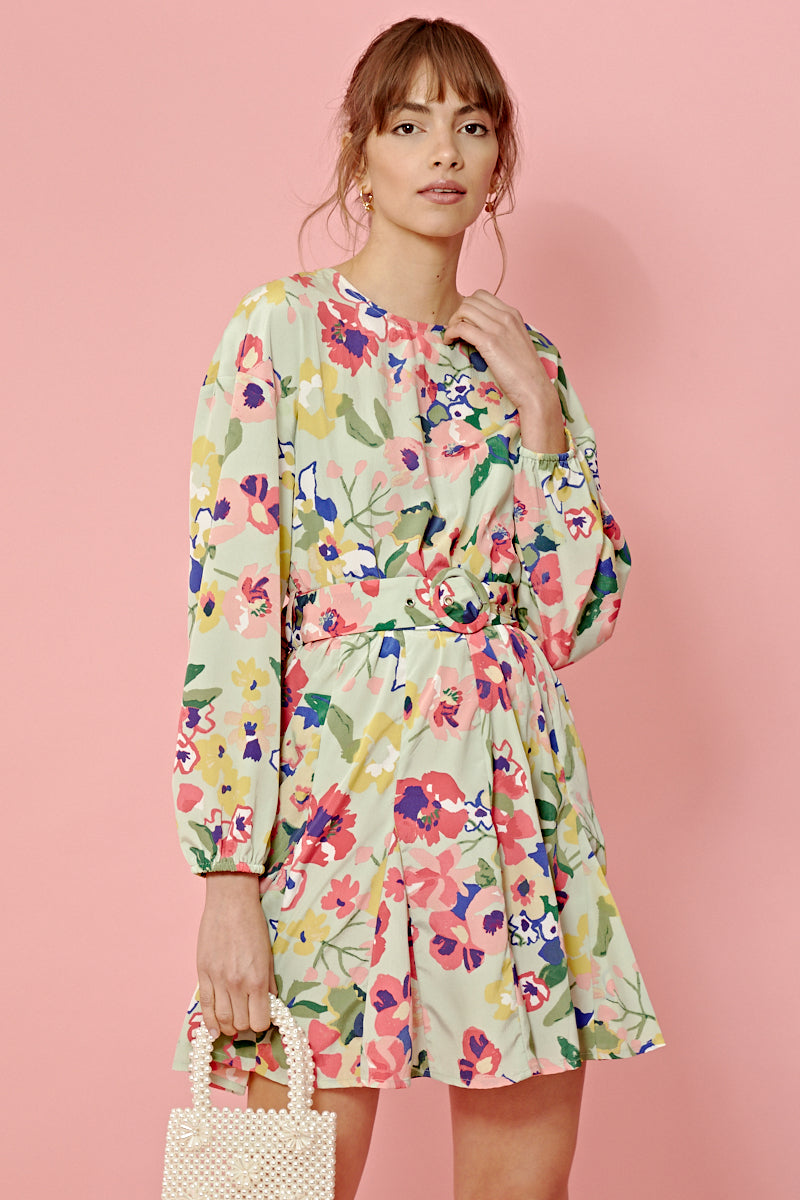 Vintage Floral Belted Mini Dress <br> Green