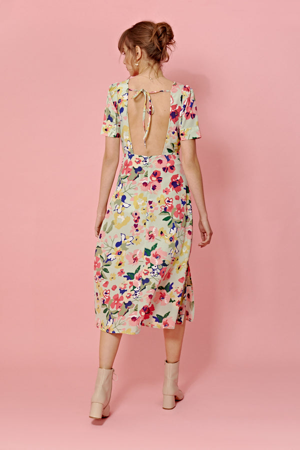 Vintage Floral Open Back Midi Dress <br/> Green