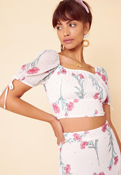 Dorothy Shirred Floral Crop Top <br> White