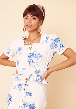 Arabella Floral Crop Top <br> White