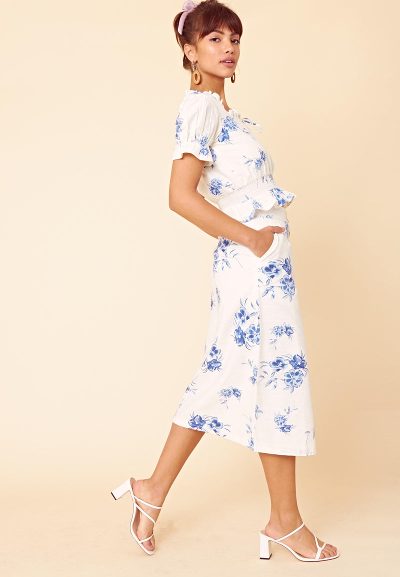 Arabella Floral Button Front Midi Skirt <br> White