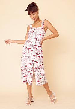 Scenic Print Square Neck Midi Dress <br> White