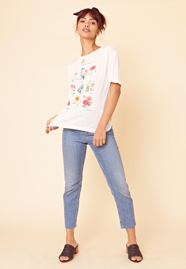 Floral Book T-Shirt <br> Cream