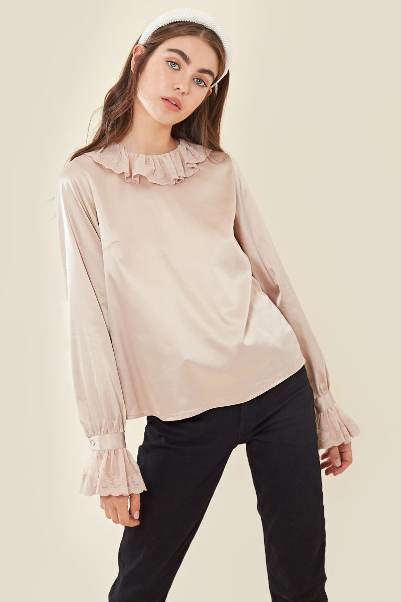 Vintage Style Lace Trim Blouse </br> Cream